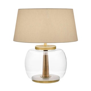 Oslo Clear Rounded Glass With English Brass Lamp With Shade For Sale