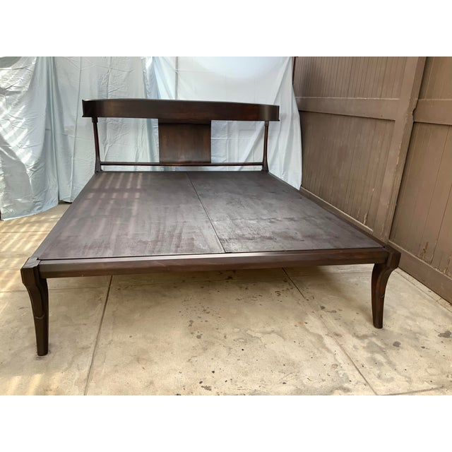 Chocolate Mid Century Modern Klismos Style Queen Bedframe For Sale - Image 8 of 8