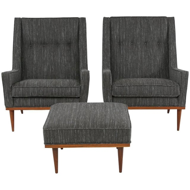 Gray Pair of Milo Baughman for James Lounge Chairs and Ottoman For Sale - Image 8 of 8