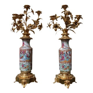 Chinese Rose Mandarin Candelabras - a Pair For Sale