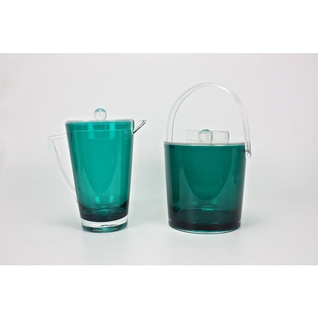 Mid-Century Modern Vintage Lucite Ice Bucket & Pitcher, Green/Clear For Sale - Image 3 of 5
