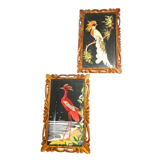 1960s Vintage Handmade and Framed Mexican Feather Art Pieces - A Pair For Sale