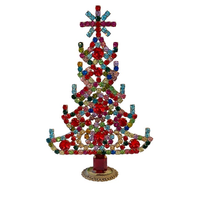 Early 20th Century Multi Colored Czech Rhinestone Christmas Tree For Sale - Image 5 of 5