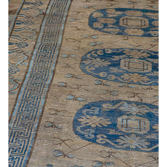 MANSOUR Mid 19th Century Handwoven Wool Khotan Rug For Sale - Image 4 of 5