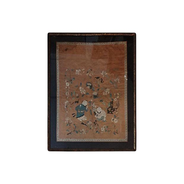 Antique Embroidery Silk Panel w/Kids - Image 1 of 10