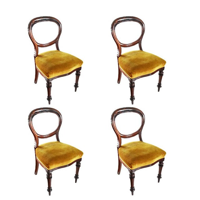 1970s Vintage Mahogany Yellow Velvet Louis XVI Victorian Side or Dining Chairs- Set of 4 For Sale - Image 10 of 11
