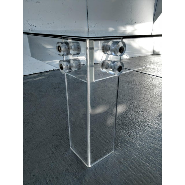 Mid 20th Century Lucite Square Cocktail Table With Glass Top, Vintage For Sale - Image 5 of 8