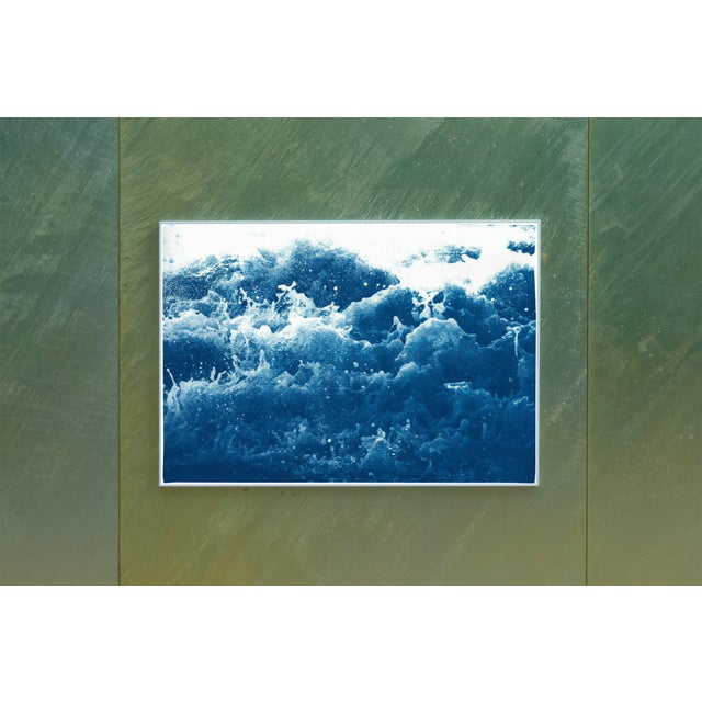Mid-Century Modern 2020 Abstract Crashing Water, Large Seascape Cyanotype Print on Paper For Sale - Image 3 of 12