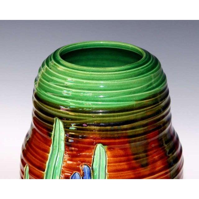 Ceramic Awaji Pottery Art Nouveau Carved Iris Vase For Sale - Image 7 of 11