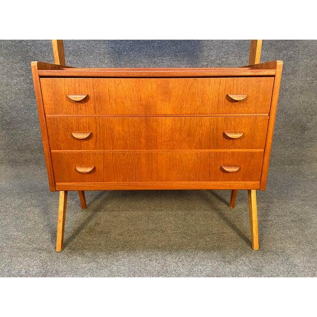 1960s Vintage Danish Mid Century Modern Teak and Oak Secretary Desk Vanity For Sale - Image 5 of 11