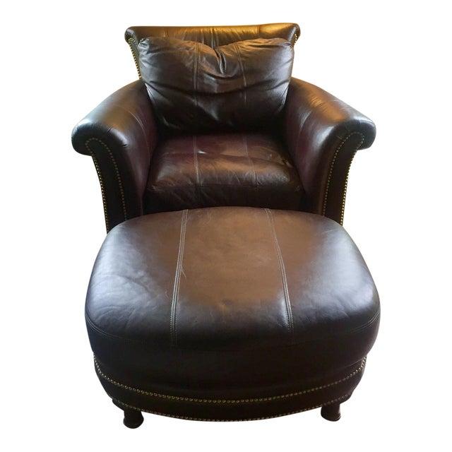 Ferguson Copeland Surrey Leather Chair & Ottoman For Sale