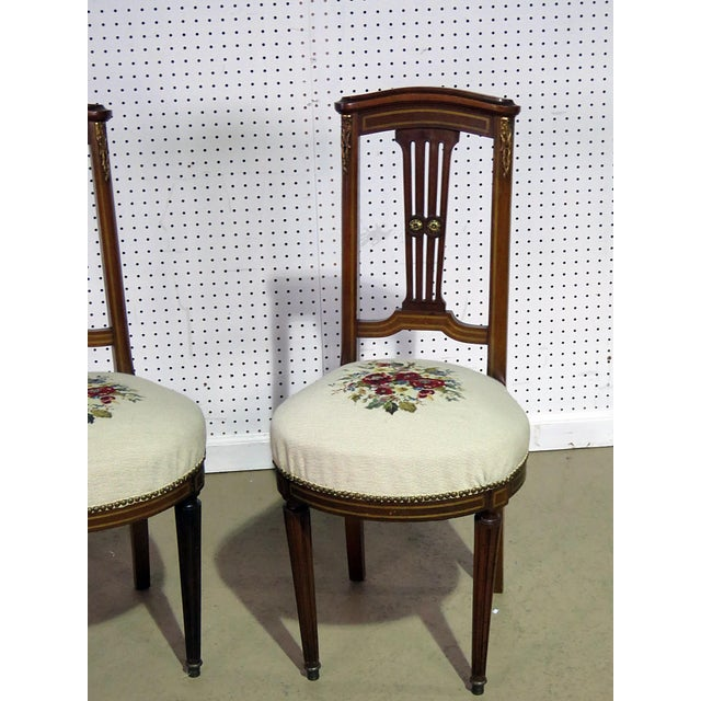 Hollywood Regency Pair of Directoire Style Slipper Chairs For Sale - Image 3 of 8