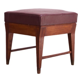 Gio Ponti Oak and Leather Stool With Brass Sabots For Sale