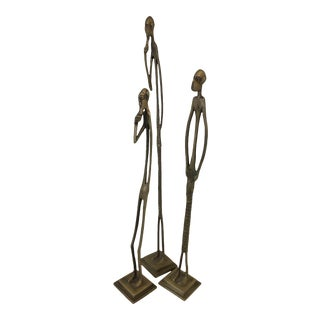 Vintage Brass Tribal Sculptures - Set of 3 For Sale