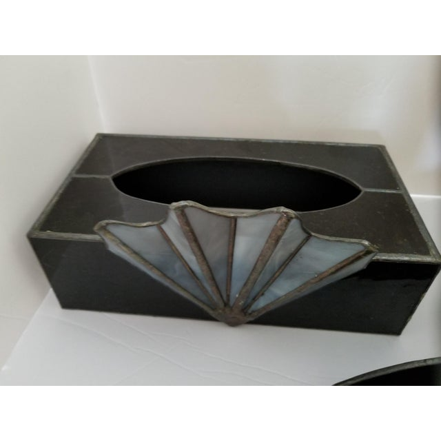 French Art Deco Black Glass Waste Basket - Set 3 For Sale In Cleveland - Image 6 of 12