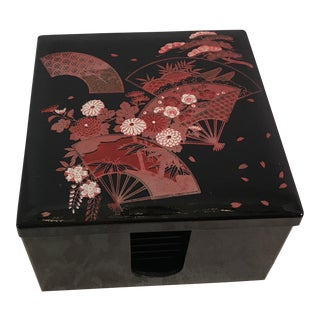 Mid Century Modern Black Lacquer Coasters With Box, Set of 6