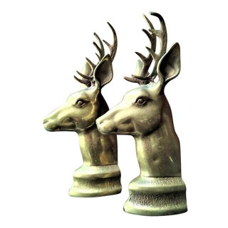 Vintage Brass Deer Head Sculptural Bookends - a Pair For Sale