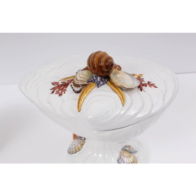 Vintage Shell Motif Tableware Including Italian Handmade Compote & Fitz & Floyd Vessels For Sale - Image 10 of 13