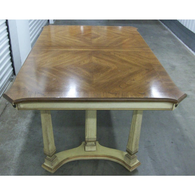 "1970s French Provincial Stanley Furniture Rectangular Trestle Dining Table 102"" For Sale In New York - Image 6 of 10"