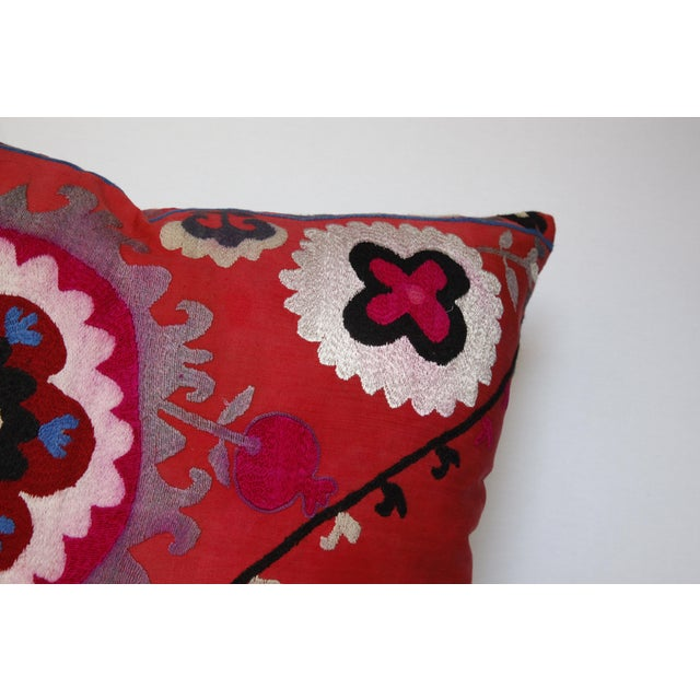 Vintage Needlework Suzani Pillow Cover For Sale - Image 10 of 12