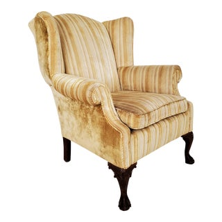 Vintage Queen Anne Style Wingback Chair For Sale