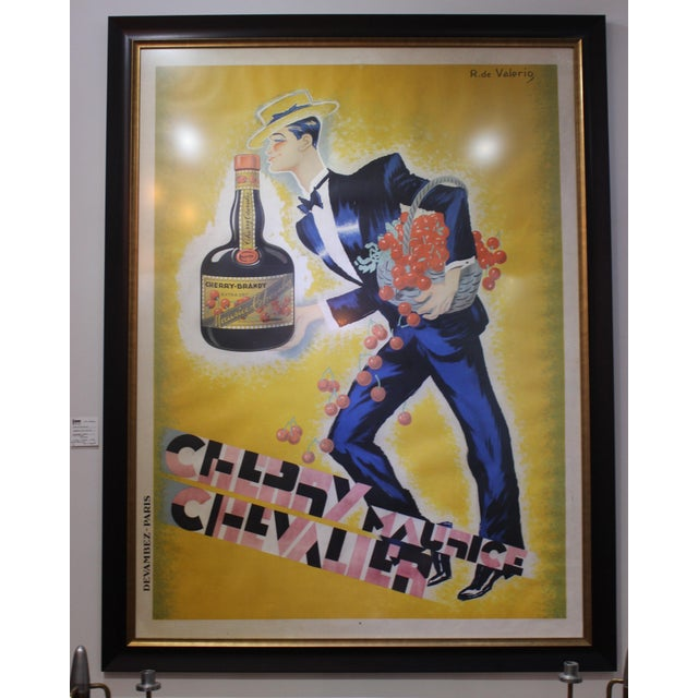 "Wood Cherry Brandy Maurice Chevalier 70"" Lithographic Poster by Roger De Valerio 1935 For Sale - Image 7 of 12"
