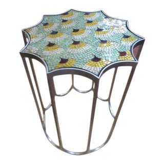 Vintage Mid Century Modern Style Glass Mosaic Top Metal Side Table For Sale