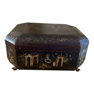 Antique 1800s Black Lacquered Chinese Sewing Box For Sale