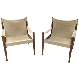 Safari Sling Lounge Chairs by Erik Wørts - A Pair For Sale