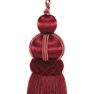 """Ruby Red Key Tassel With Cut Ruche - Tassel Height 5.75"""" Preview"""