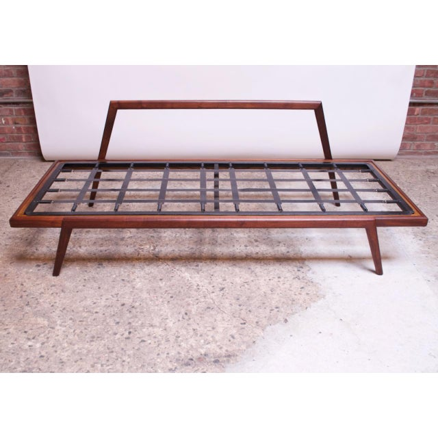 Mid-Century Walnut and Leather Daybed / Settee by Mel Smilow For Sale - Image 9 of 13