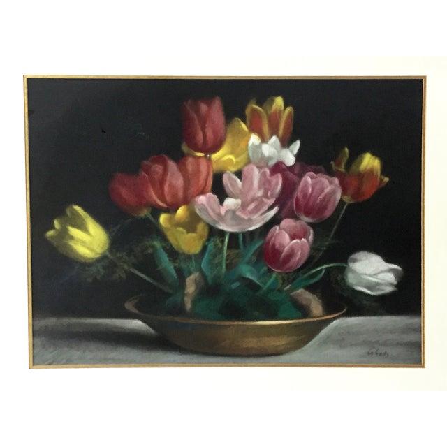Vintage Pastel Tulip Still Life For Sale - Image 4 of 9