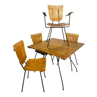 1950s Mid-Century Wood and Iron Dining Set by Arthur Umanoff for Raymor - 5 Pieces For Sale
