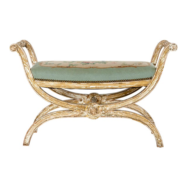 French Needle Point Cushioned Bench For Sale