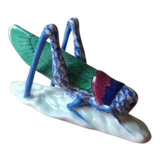 Herend Porcelain Grasshopper in Sapphire Green Magenta & 24 Carat Gold