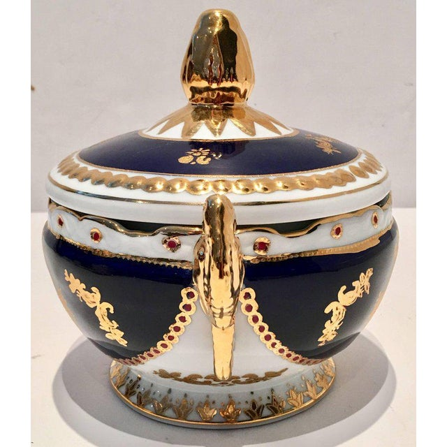 Vintage French Sevres Style Limoges Cobalt and 22-Karat Lidded Jar - Image 2 of 9