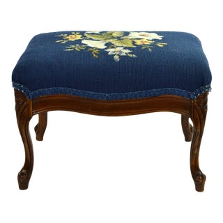 Vintage Petite Carved Footstool Ottoman With Bellflowers Needlepoint Top For Sale