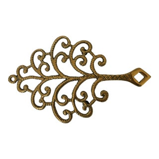 Vintage Mid-Century Ornate Brass Tree Trivet For Sale
