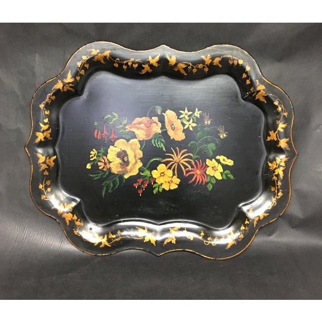 Black Vintage Tole Tray Black With Hand Painted Floral Design For Sale - Image 8 of 8