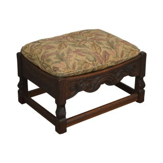 Jamestown Lounge Feudal Oak Vintage Carved Stool or Ottoman For Sale