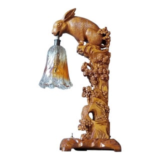 Antique/Vintage Asian Wood Original Carving Rabbit Table Lamp For Sale