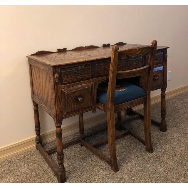 Brown Vintage Mid Century Jamestown Lounge Co. Feudal Oak Desk Set- 3 Pieces For Sale - Image 8 of 13