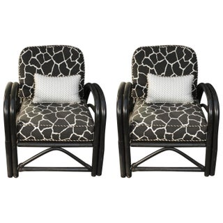 1960s Outdoor Art Deco Bamboo Arm Chairs - Pair