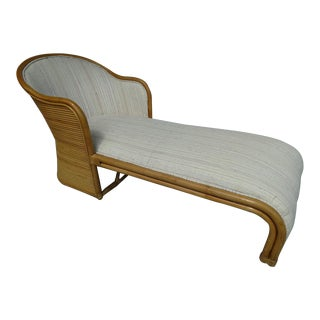 Vintage Streamline Rattan Upholstered Chaise Lounge