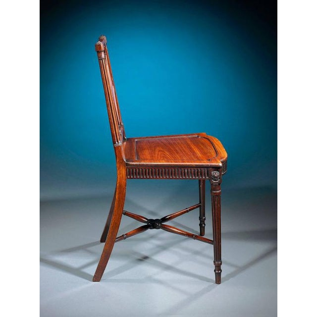 English Traditional George III Mahogany Hall Chairs - A Pair For Sale - Image 3 of 6