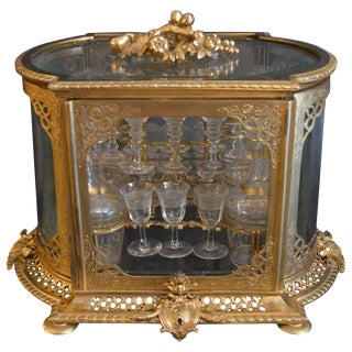 19th Century Bronze and Baccarat Crystal Tantalus For Sale