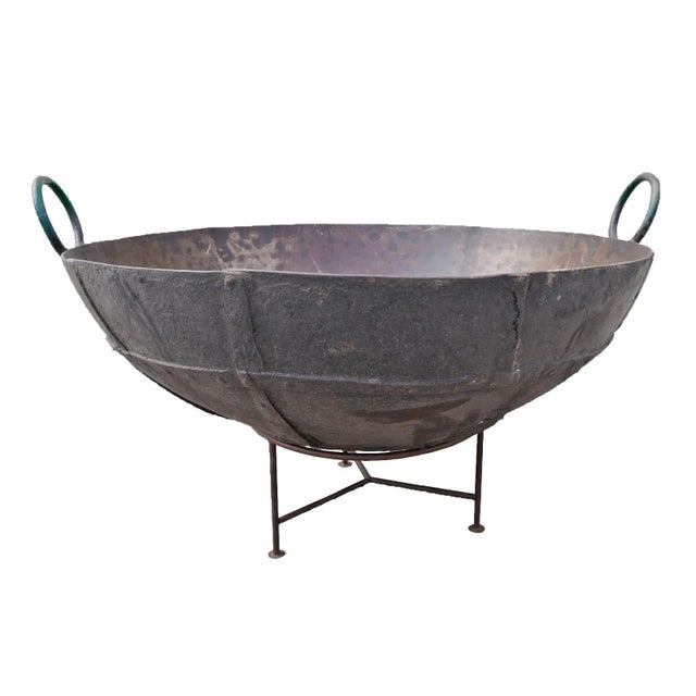 "2010s Large Iron Kadai Fire Bowl 48"" For Sale - Image 5 of 5"