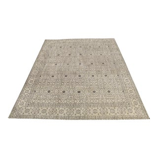Transitional Neutral Tan Beige Wool Hand-Knotted Rug - 8' X 10'