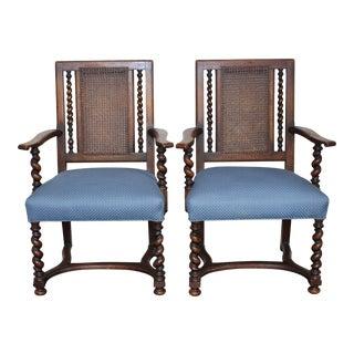 Antique 19th Century English Walnut Barley Twist Cane Chairs- A Pair For Sale