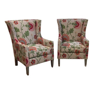 A Pair of Thibaut Princeton White and Raspberry Red Upholstered Wing Chair Showroom Sample - a Pair